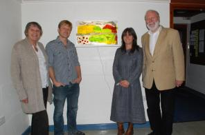 Unveiling of glasswork at South Wonston Village Hall